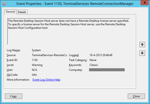 No remote Desktop Licence Server availible on RD Session Host server