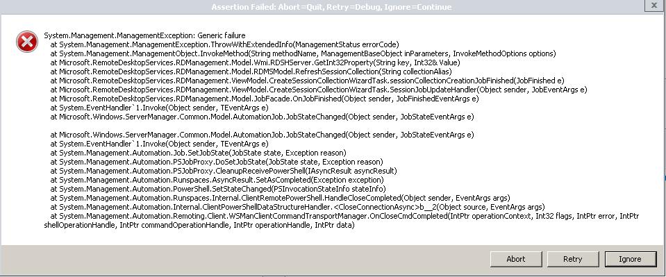 Remote desktop connection broker error