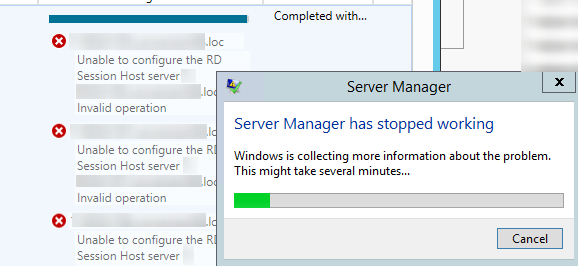 adding RDSH servers to a collection results in an error